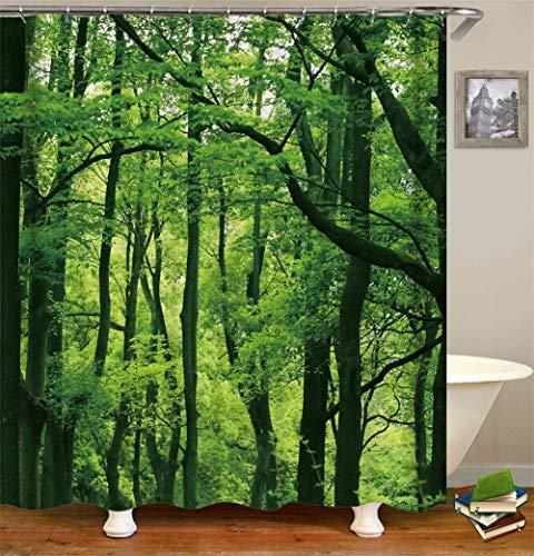 ZZZdz Plantendecoratie. De zachte groene bomen groeien in het bos. Douchegordijn. Waterdicht. Eenvoudig te reinigen. 180 x 180 cm.