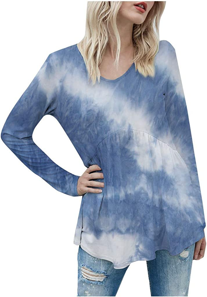 POTO Tops for Womens Tie Dye Curved Hem Pullover Sweatshirt V Neck T-Shirts Long Sleeve Casual Blouse