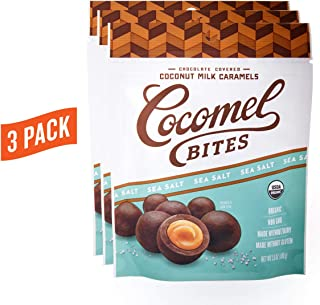 Cocomels Chocolate Sea Salt Caramel Bites, Organic Candy, Dairy Free, Vegan, Gluten Free, Non-GMO, No High Fructose Corn Syrup, Kosher, Plant Based, (3 Pack)