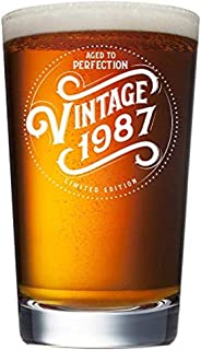 1987 32nd Birthday Gifts for Men and Women Beer Glass - 16 oz Funny 32 Year Old Vintage Pint Glasses for Party Supplies - Anniversary Gift Ideas for Dad, Mom, Husband, Wife - Best Pub Craft Beers Mug