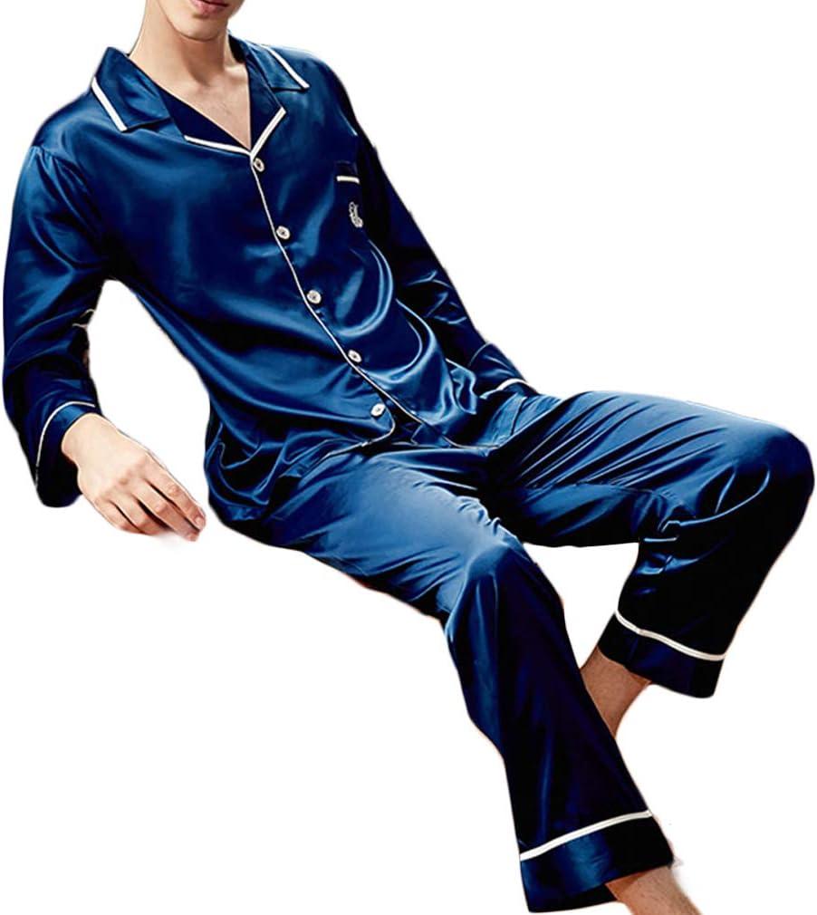 Nunubee Faux Silk Pajamas Set Long Sleeve Sleepwear Nightwear Loungewear with Top & Pants/Bottoms Man - Dark Blue - XL