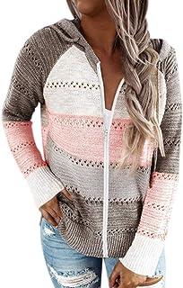 Suéter Cremallera con Capucha para Mujer Chaqueta Jerséis de Punto Manga Larga con Raya ahuecada Sudadera de Punto Pullove...