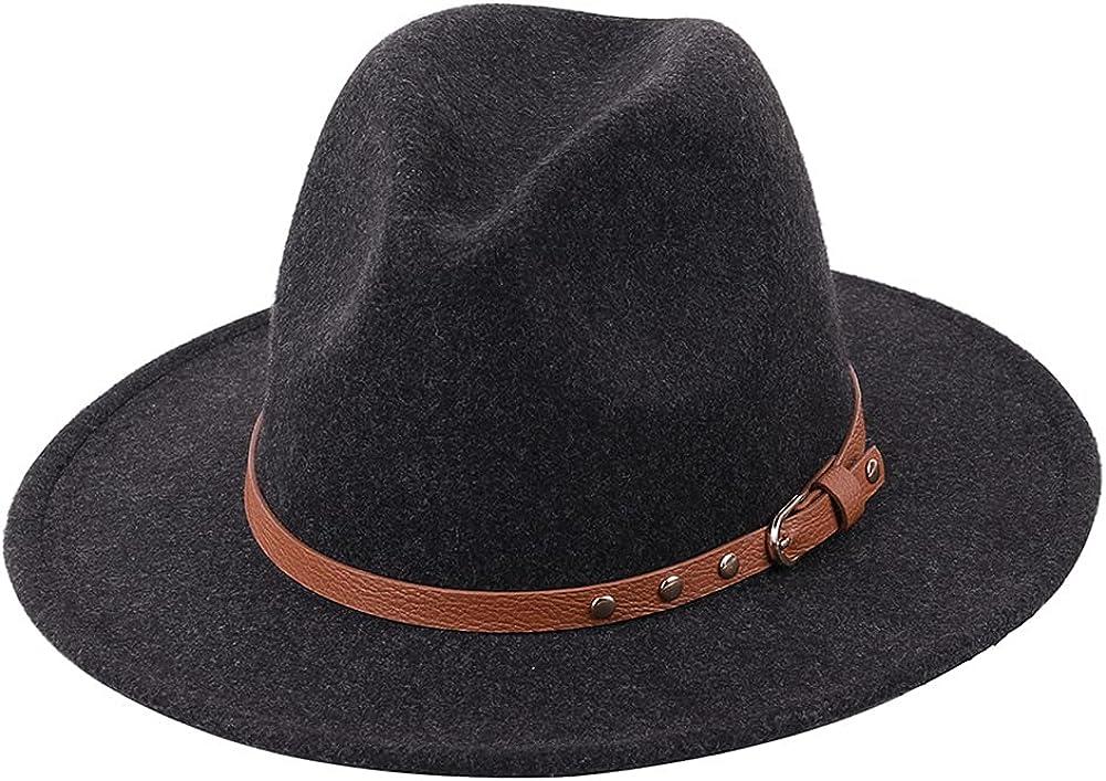 Womens Winter Spring Felt Rivet Leather Band Fedora Hat, Wide Brim Stylish Cap for Women