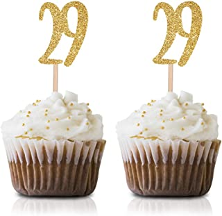 Gold Happy 29th Birthday Cupcake Topper, 24-Pack Number 29 Glitter Birthday Party Cupcake Toppers, Decorations