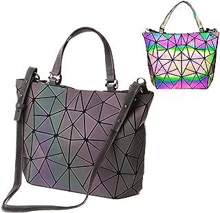 Parnerme Ecopelle luminosa in pelle PU Borse e borse uniche Shard Lattice Eco-Friendly in pelle Borsa olografica arcobalen...