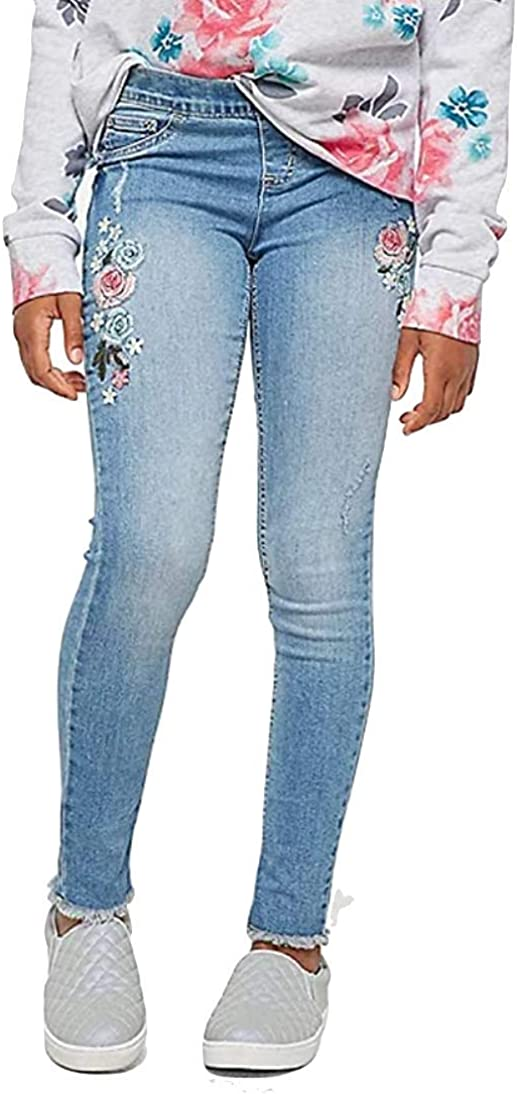 Justice Embroidered Pull On Jean Leggings Light Wash