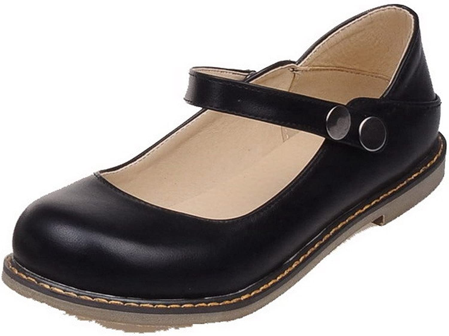WeiPoot Women's Solid PU Low-Heels Button Round-Toe Pumps-shoes