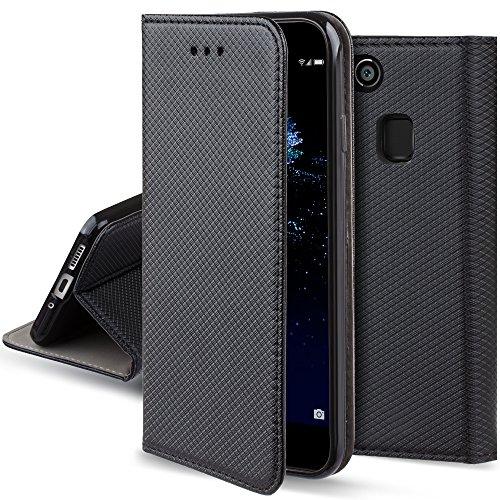 Moozy Cover per Huawei P10 Lite, Nero - Custodia a Libro Flip Smart Magnetica con Appoggio e Porta Carte