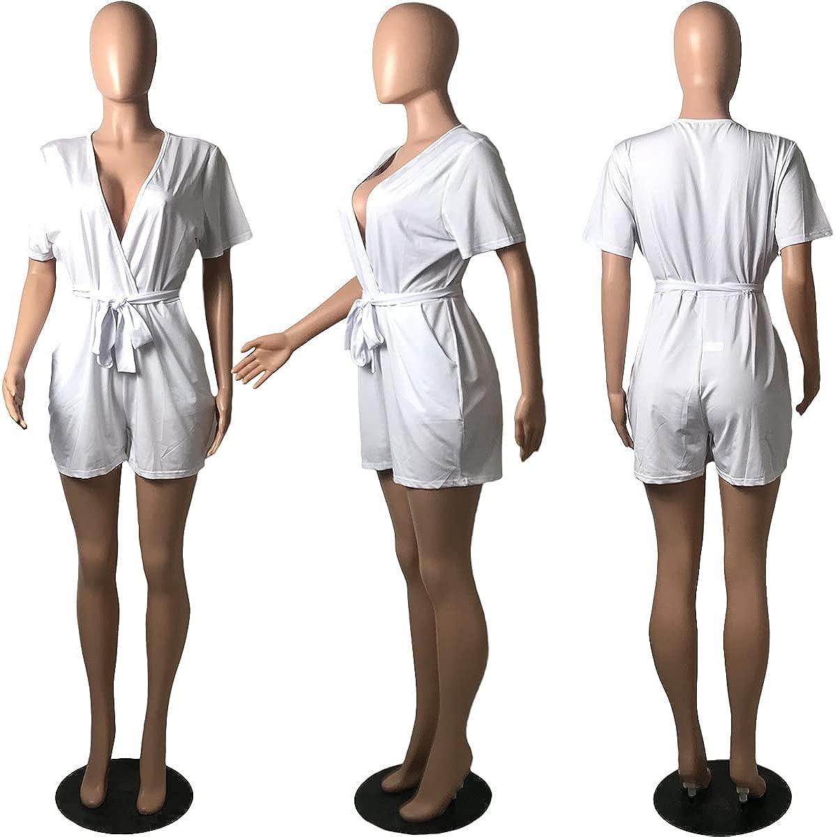 Waesoaen Plus Size Rompers for Women Casual Short Sleeve V Neck Belted Short Jumpsuit Romper with Pockets L-5XL