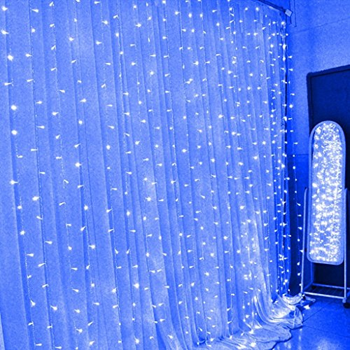 Eplze LED Curtain Light 6m x 3m 600 LED Fairy Light 8 Controllable Modes Water-Resistant String Light for Christmas Party Wedding Festival Window Decorations (Blue)