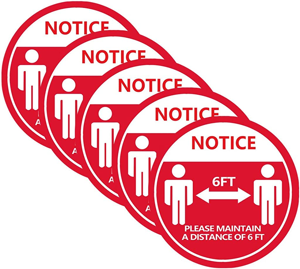 WEI MOLO@ Floor Sign Decal Sticker Keep 6ft Social Distancing Red Floor Sign Decal Sticker Distance Marker Floor 28x28cm