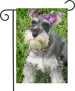 Miniature Schnauzer Garden Flags House Indoor & Outdoor Holiday Decorations,Waterproof Polyester Yard Decorative for Game Family Party Banner