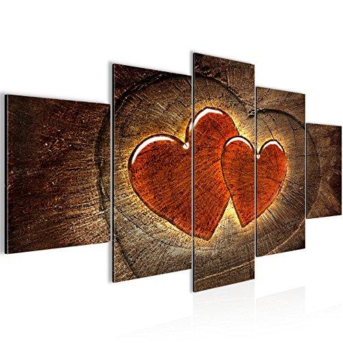 Runa Art Bilder Herzen Holz Wandbild 200 x 100 cm Vlies - Leinwand Bild XXL Format Wandbilder Wohnzimmer Wohnung Deko Kunstdrucke Braun 5 Teilig - Made in Germany - Fertig Zum Aufhängen 104151a