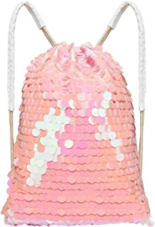 Play Tailor Big Sequin Drawstring Bag Large Sequins Dance Bag Gym Bags for Outdoor Sports - Special Large Paillettes, Womens, Pink
