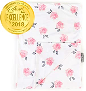 Minky Baby Blanket 30 x 40 inch - Soft Blankets for Newborns and Toddlers - Best for Baby Girls - Plush Mink Double Layer Fleece Fabric - Peony