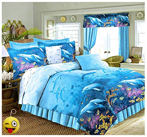 Tropical Living Dolphins Cove Sea Life Blue Comforter & Sheet Set (8pc Queen Size 86' x 86')