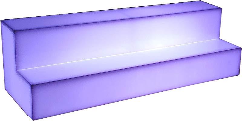 2 Step Tiered Illuminated Bar Shelf LED Liquor Bottle Display Full Glow White Acrylic Color Changing 24