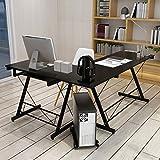 HLC Table Bureau Informatique Bureau d'Angle Ordinateur 161 * 120 * 73cm Noir-035