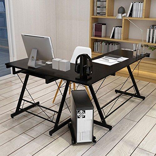 HLC 161 * 120 * 73cm Computer Table Desk L-Shape Corner Office Sturdy Furniture Computer Workstation with Pull-out Keyboard Shelf Panel CPU Storage Holder