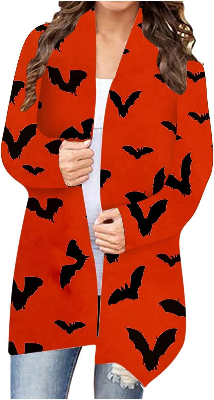 Womens Cardigan Sweaters Halloween Cat Bat Pumpkin Print Long Sleeve Top Lightweight Plus SizeLong Open Front Shirts