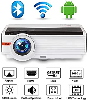 Bluetooth Wireless Projector LCD Android 6.0 2019 Update 5000 Lumen LED WiFi Home Cinema Projector Support 1080P HDMI USB Airplay Netflix YouTube APP for Game Movie Art Outside Inside Entertainment