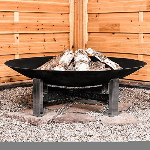 Köhko Sevilla Feuerschale Ø 790 mm Feuerstelle auf Edelstahl-Ständer und kunstvoll verzierten Eisenstreben 41007, 40 liters