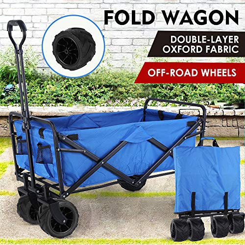"""Collapsible Outdoor Utility Wagon, Heavy Duty Folding Garden Portable Hand Cart, with 8"""" All-Terrain Wheels and Drink Holder, Adjustable Handles and Double Fabric, for Beach, Garden, Sports (Blue)"""