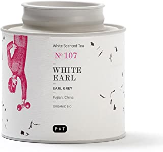 P & T White Earl, Bio Ganzblatt-Weißtee-Mischung, Earl Grey Style Mix aus chinesischem weißen Tee und Bergamotte, Metalldose 40g / 1.4oz