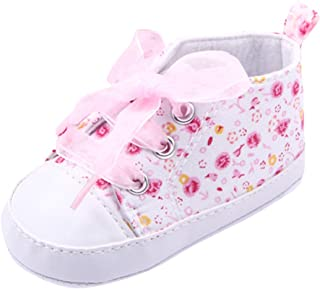 Weixinbuy Baby Girl's Floral Prewalker Soft Sole Ribbon Non-Slip Sneaker