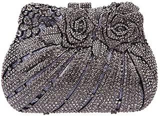 Fawziya Bling Rose Clutch Purse Women Flower Rhinestone Crystal Evening Bag