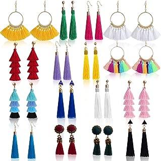 Outee 16 Pairs Tassel Earrings Long Layered Thread Ball Dangle Earrings Fringe Bohemian Tiered Tassel Drop Earrings Colorful Earrings Fashion Jewelry Gift for Girls Women