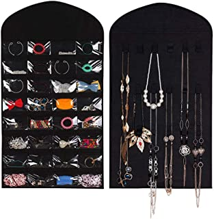 Green fox Double Sided Hanging Jewelry Organizer Jewelry Display Holder,32 Pockets 18 Hook Loops,Black