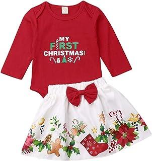 Eghunooye Weihnachten Baby Mädchen Kleidung Outfits My First Christmas Langarm Strampler Tops Blumen Weihnachtssocken bedruck Rock Prinzessin Xmas Bekleidungsset