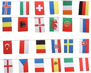 OULII Campeonato de la Copa Europea Banderas colgantes Banderas internacionales de la guirnalda Bandera para el restaurante del club Barra Decoración de la calle del césped