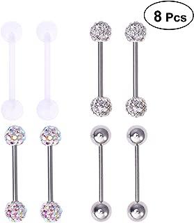 FENICAL 4 Pairs 16MM Stainless Steel Piercing Jewelry Earrings Nipple Tongue Rings Barbell Rings Nipple Rings Body Piercing Jewelry (Silver)