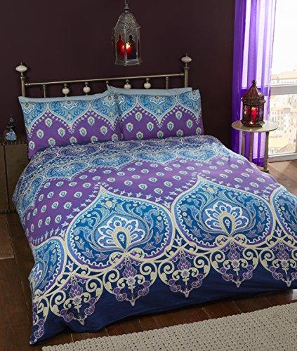 Asha Saphire indischen Design Bettwäscheset, Bettbezug und 1Kissenbezug Bettwäsche-Set, Blau/Violett, Single