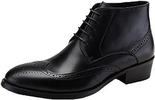 Santimon Mens Brogue Dress Boots Leather Wingtip Lace up Ankle Shoes