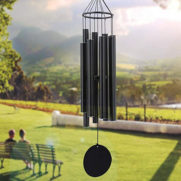 Large Wind Chimes Outdoor Deep Tone 38In Sympathy Outdoor Windchimes Large With 8 Tubes Tuned Relaxing Tone Soothing Memorial Wind Chimes Amazing Grace For Father Mother Garden D Cor Matte Black