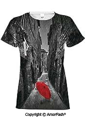 PUTIEN Natural Waterfall Decor Girls Short-Sleeve Midweight T-Shirt,Polyester,Waterfall