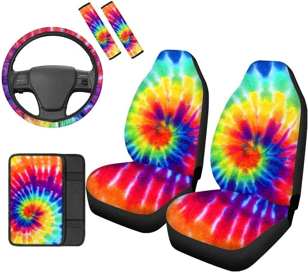 Philadelphia Mall BIGCARJOB Rainbow Tie Dye Car 6pc Interior Auto Accessiores Prot supreme