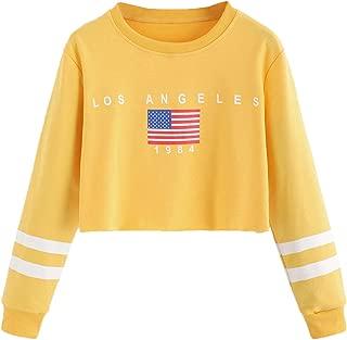 america flag print raw hem sweatshirt