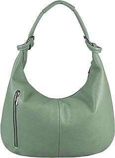 OBC Made in Italy Damen XXL Ledertasche Leder Wildleder Shopper Tasche Schultertasche Umhängetasche Hobo-Bag Beuteltasche