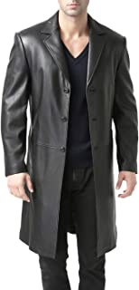 BGSD Men's Classic Leather Long Walking Coat (Regular and Big & Tall and Short Sizes)