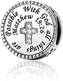 LuxglitterLin Religious Cross Charm Christian Bible Verse Quotes CZ Bead for European Bracelet