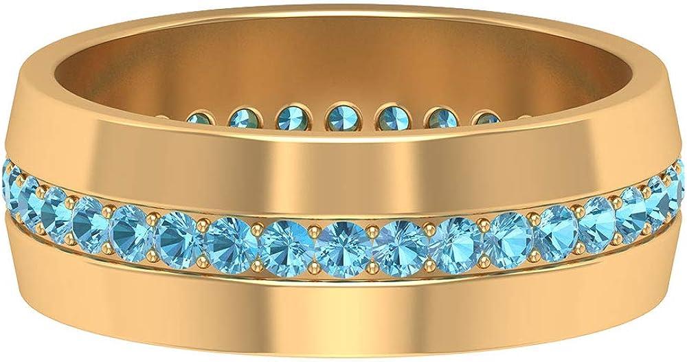 1.70 Max 90% OFF MM San Jose Mall Lab Created Aquamarine Eternity Ring Go Band Full