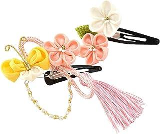 七五三 髪飾り 正絹パッチン留め2個セット 3歳 つまみ細工 日本製 キッズ