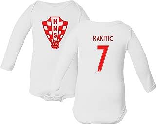 Tcamp Croatia 2018 National Soccer #7 Ivan RAKITIC World Championship Little Infant Baby Long Sleeve Bodysuit