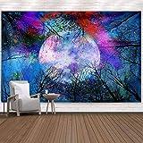 Tapiz del árbol del bosque de la luna Tapiz colorido para colgar en la pared Paisaje Psicodélico Tapiz Trippy Arte de la pared Decoración para el hogar Ropa de cama Colcha 150 * 130 cm