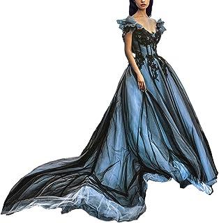 Kivary Women Off The Shoulder Long Gothic Black V Neck Tulle Evening Prom Dress