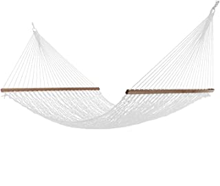 Project One Large 12FT DuraCord Rope Hammock, Quick Dry Rope Hammock with Double Size Solid Wood Spreader Bar Outdoor Patio Yard Poolside Hammock, 2 Person 450 Pound Capacity (White)